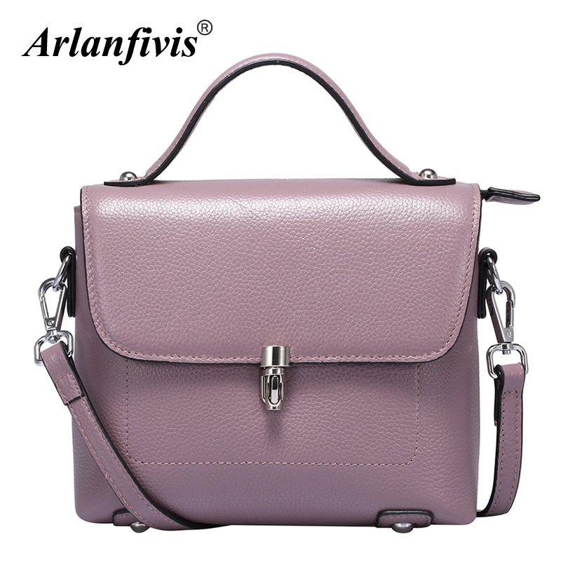 Arlanfivis Genuine Leather New 2018 Fashion Women Bags Cowhide Leather Handbag Female Messenger Bag Shoulder Tote Bolsas Purse arlanfivis genuine leather new designer 2018 fashion woman bag cowhide large capacity female handbag wide strap crossbody bags