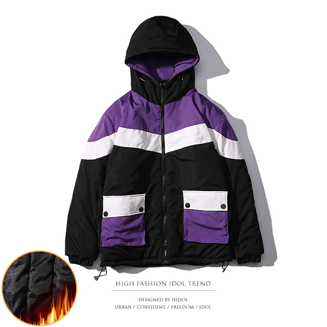 Winter Thick Oversize Old School Style Parka Coat Contrast Color