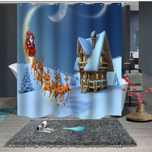цена на 3D Shower Curtain Waterproof  Bathroom Curtain Shower Christmas Decor For Home Santa Claus Bath Curtain 3 sizes