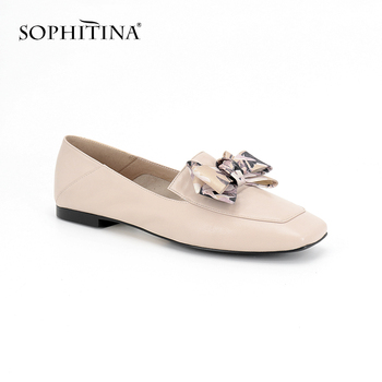 SOPHITINA New Women' s Casual Flats Genuine Leather Fashionable Mixed Colors Slip-on Square Toe Shoes Autumn Handmade Flats P109
