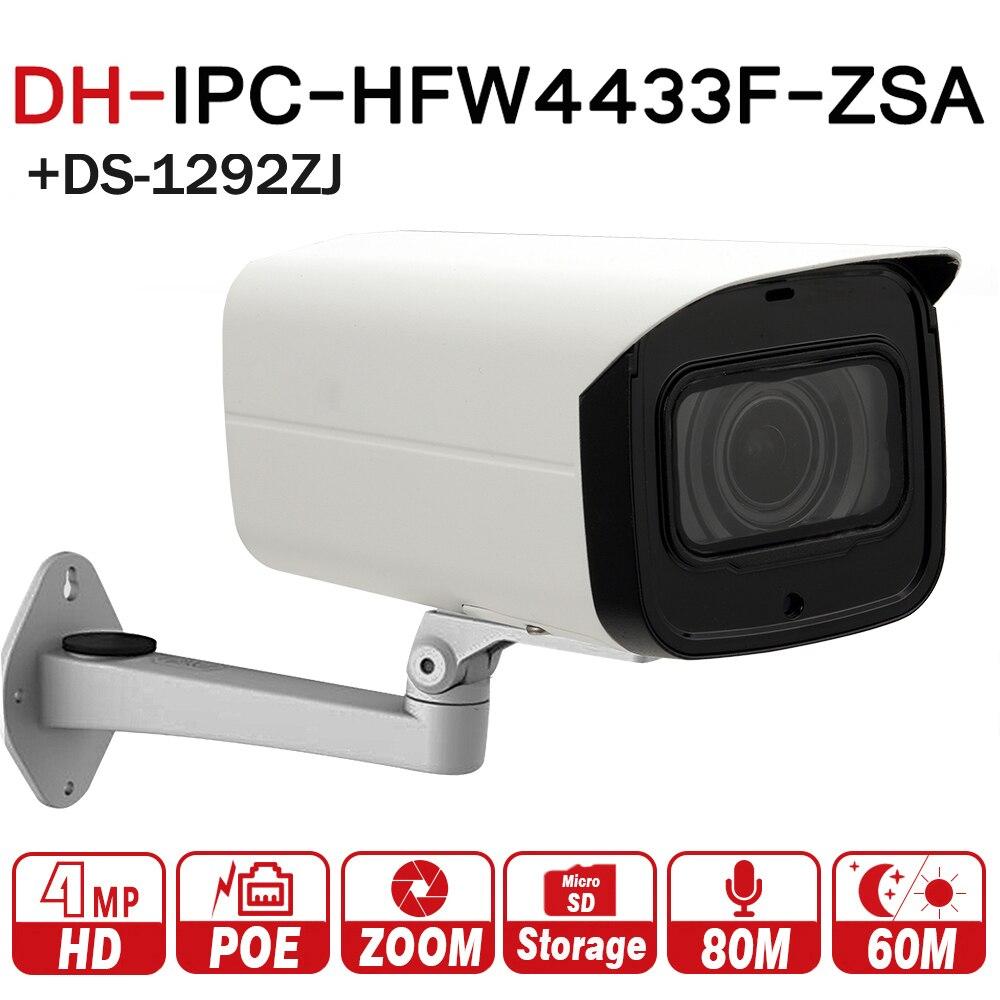 DH IPC-HFW4433F-ZSA avec logo 4MP CCTV Réseau IP Caméra 2.7-13.5mm Objectif VF Bullet 80 m IR Micro SD Fente Pour Carte MICRO Intégré IK10