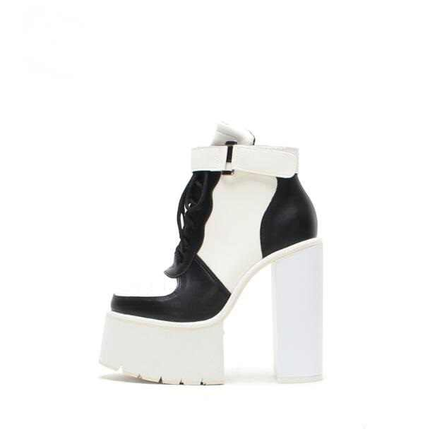 9f8af9e03c7 Black White Leather Ladies Winter Boots Ankle Buckle Straps Chunky Heels  Women Ankle Boots Lace-
