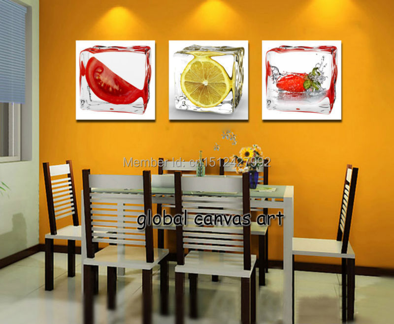Free Shipping 3 Panel Wall Art Modern Home Decoration Abstract 3D Iced Fruit HD Print Oil Painting Canvas For Dining Room