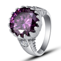 Free Shipping Unisex Rings Purple Amethyst 925 Silver Ring Size 6 7  8 9 10 Round Cut New Fashion Jewelry Gift Wholesale
