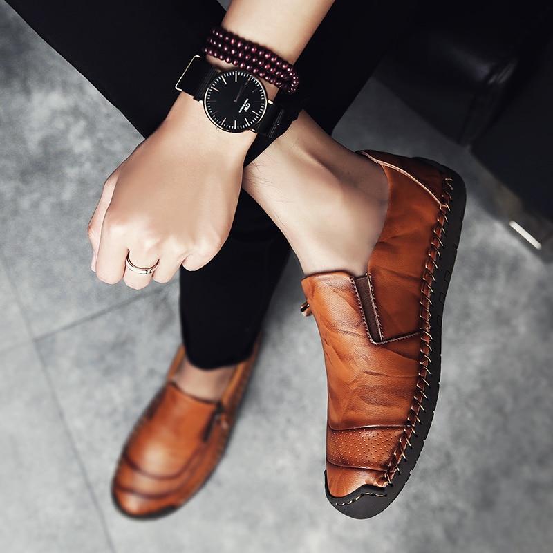 Classic Comfortable Casual Leather Shoes Men Loafers Shoes Split Leather Men Shoes Flats Hot Sale Moccasins Shoes Plus Size 5
