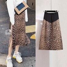 Новинка, стиль «леопард», платье для беременных в Корейском стиле Модные Беременность ухода за кожей для будущих мам Для женщин Высокая Талия живота Лифт трапециевидная юбка для беременных