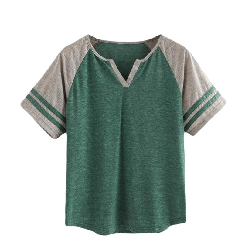 feitong 2018 New Arrival Hot Sale Summer Women Fashion Sexy Short Sleeve Striped Stitching Color Vest Top Casual T-shirt Clothes