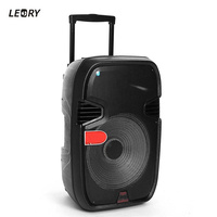 LEORY 220V Bluetooth Speaker LED Light Display 15inch Big Power Subwoofer Speaker With Mic TF Remote