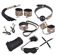 Couples Flirt fun Adult Sex Toys Role Play Kit Women Sexy Dress Rope Ball Gag Handcuffs Whip Collar Blindfold Leather Leopard