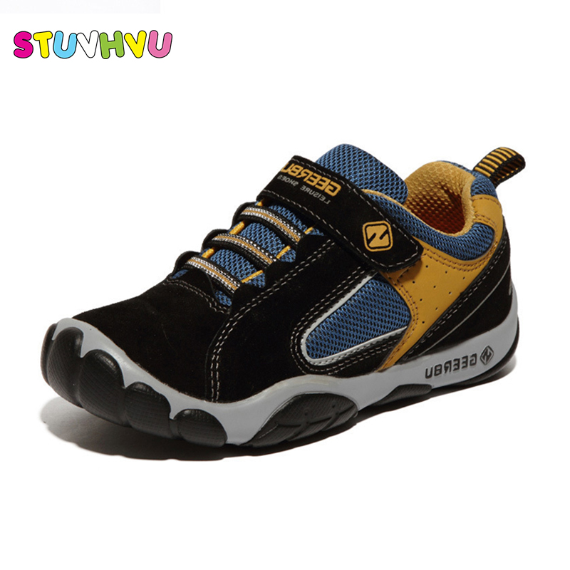 2017 Genuine Leather Children Shoes Size 28-37 Waterproof Kids Sneakers Breathable Girls Boys Sports Shoes Outdoor Trainers