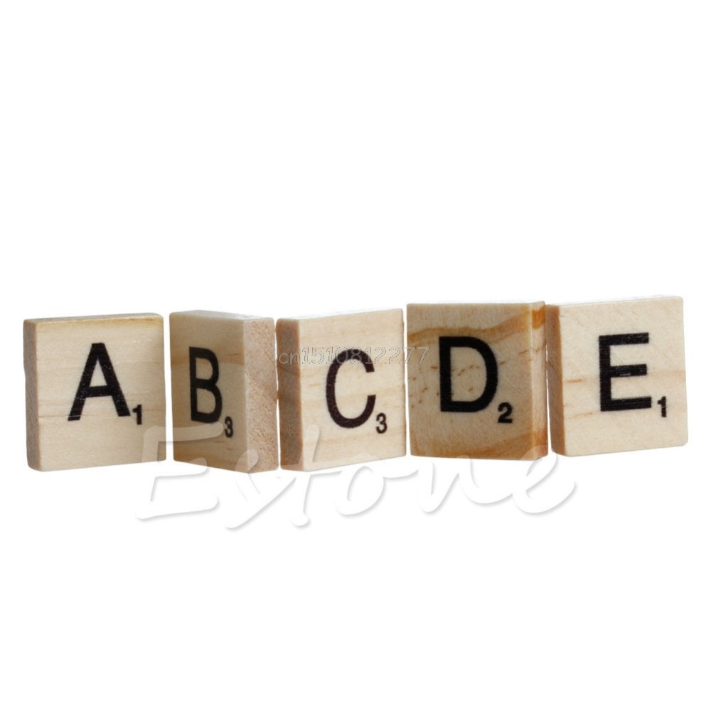 100 Wooden Alphabet Scrabble Tiles Black Letters & Numbers For Crafts Wood New Drop Shipping