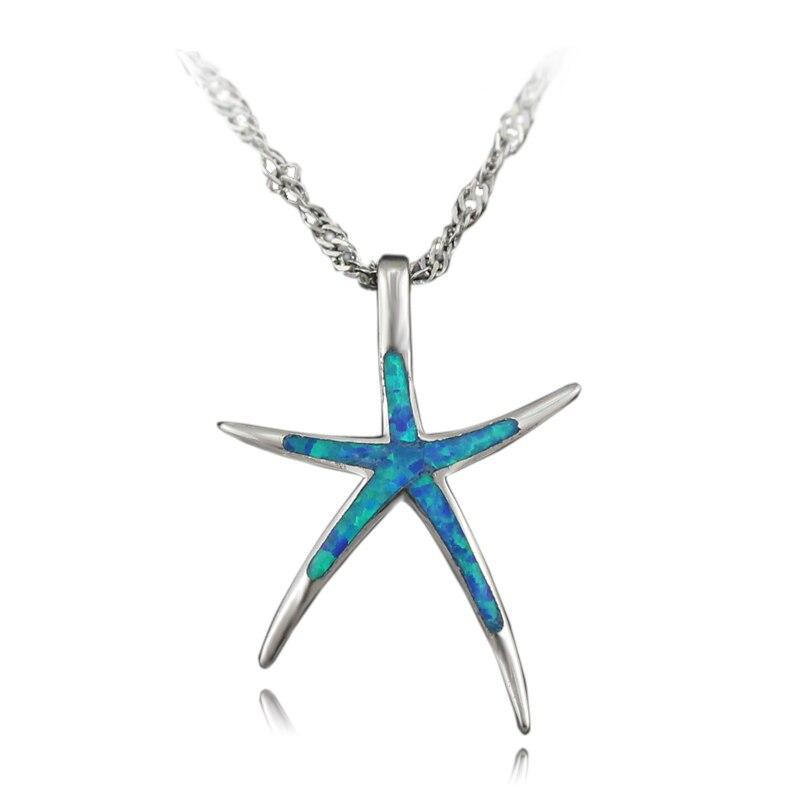 Haimis liberan la cadena lindo azul verde Blanco marrón Rosa ópalo estrella colgante mujeres collar pendiente Starfish colgante 1 1/4''