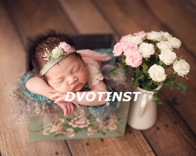 Dvotinst Newborn Baby Photography Props Retro Wooden Printed Tub Box Fotografia Decoration Infant Studio Shooting Photo Props