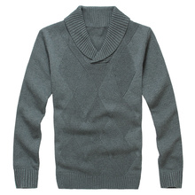 Lesmart Men's Sweaters Pure Cotton Fashion Casual Business Argyle Pullovers Full Turtleneck Pattern Hand Knitted Standard Wool