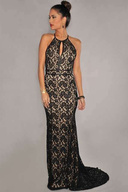 2015 New Arrival Fashion Sexy Party Black Sleeveless Lace Nude