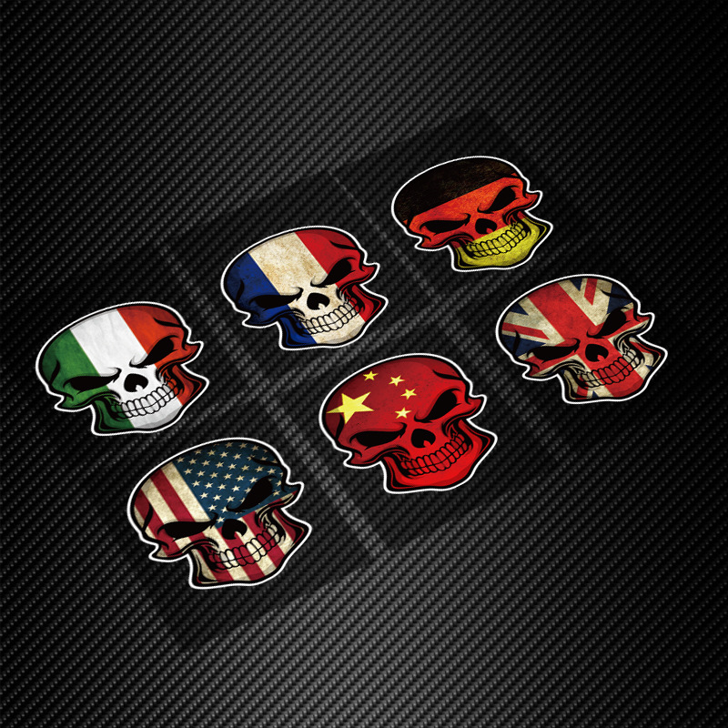 Italy france germany usa uk flag skull badge scary car styling decal reflective printing car stickers for ford focus 2 3 mondeo in car stickers from
