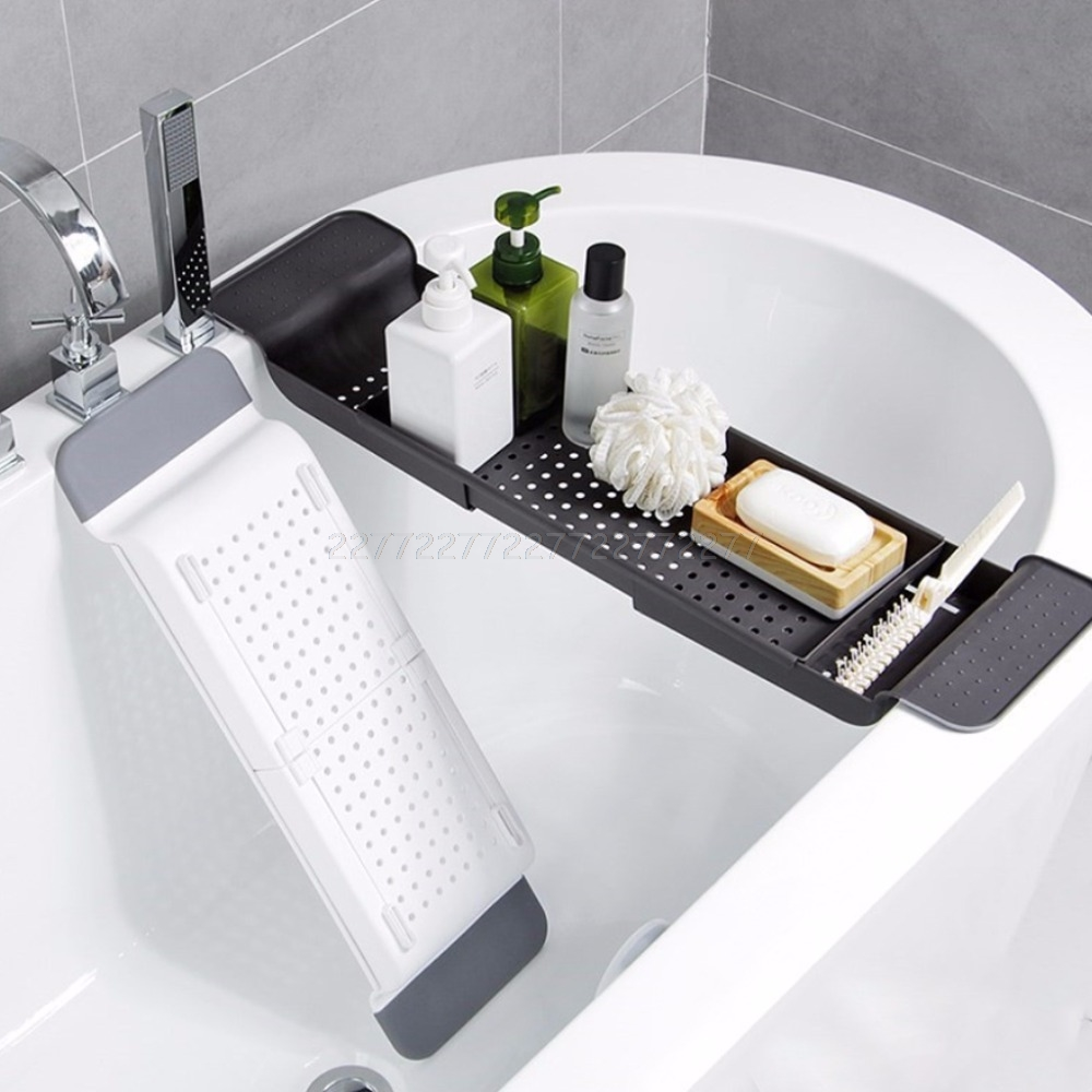 אמבטיה אמבטיה מדף Caddy מקלחת להרחבה מחזיק מדף אחסון מגש מעל אמבטיה רב תכליתי ארגונית A10 19 Dropship