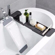 Estante para bañera Caddy, soporte extensible para ducha, bandeja de almacenamiento sobre el baño, organizador multifuncional A10 19