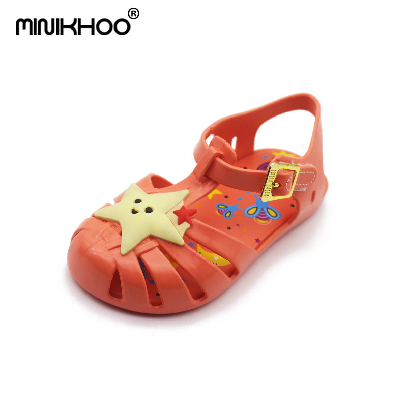 Mini Melissa 6 Color Star Moon Owl Cute Girls Jelly Sandals 2018 New Melissa Girls Shoes High Quality Melissa Toddler Sandals