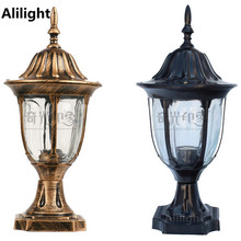 Vintage 220V/110V Black/bronze Garden Colummn Head Light Fitting Aluminum Outdoor Pillar Lamp Post E27 Led Landscape Lighting
