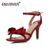 ENMAYER Sexy High Heels Open Toe Bowties Charms Shoes Woman Summer Sandals Genuine Leather Gladiator Ankle