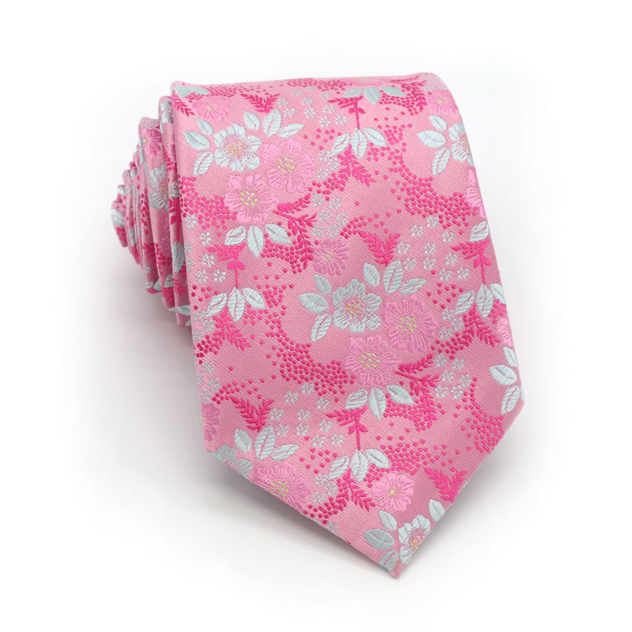Luxury Mens Tie 8CM Color Pink Floral Silk Neckwear Jacquard Woven Neck Ties For Men Formal Business Wedding Party Necktie