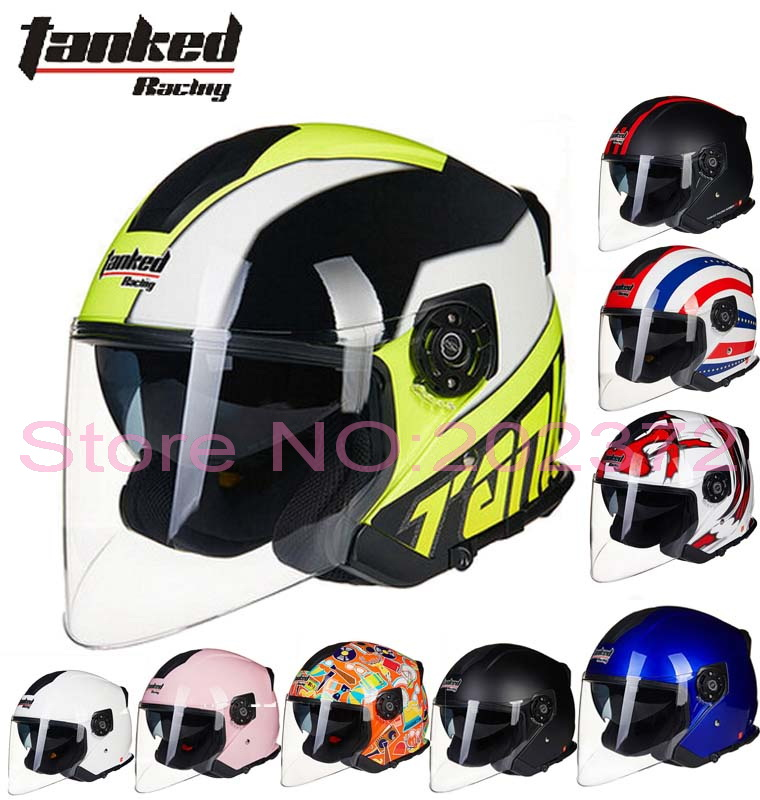 Germany Tanked Racing  half face motorcycle helmet dual lens motorbike safety helmets made of ABS T597 removable liner 10 colors