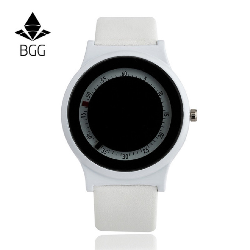 BGG Simple Style Arabic numerals dial ladies Casual Watch innovative Women Dress Wristwatch Gift Leather Strap Quartz clock hour