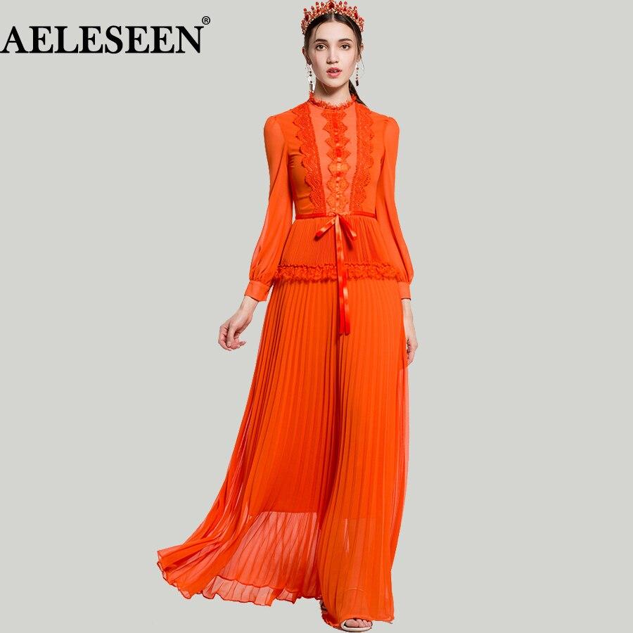Luxury XXL Women Vestido Dresses 2018 Spring Runway Fashion Lace Ruffles Bow Patchwork Lantern Long Sleeve Pleated Maxi Dress