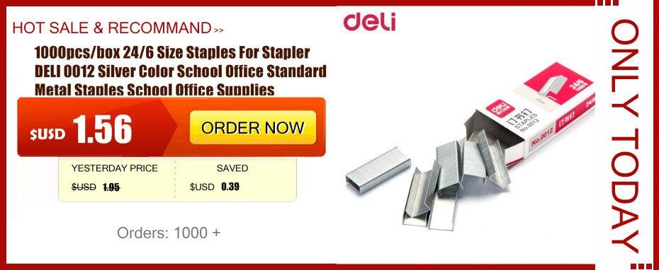 1000pcs Box 24 6 Size Staples For Stapler Deli 0012 Silver Color School Office Standard Metal Supplies