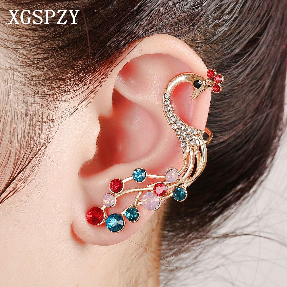 Xgspzy Exquisite Bling Colorful Crystal Peacock Ear Cuff Fashion Bohemian  Full Rhinestone Multi Earcuff Women Gifts Clip Earring