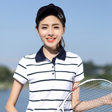 Hoffen 2017 Summer Women Striped Polo Shirt Short Sleeve Slim Fit Polos De Mujer Casual Camisa