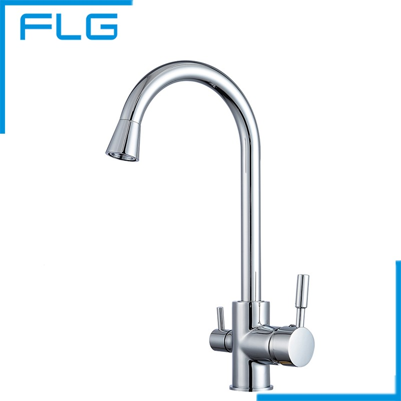 kitchen drinking water faucet polished chrome brass 3 way 360 swivel kitchen sink faucet 19473