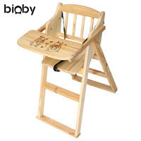 Pine Wooden Baby High Chair Folding Portable Baby Booster Seat Kids Child Dining Table Multifunction Adjustable Chairs With Tray