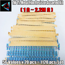 1120pcs 1W 1% 56 ערכים 1ohm   2.2M אוהם מתכת קולנוע התנגדות מגוון ערכת סט