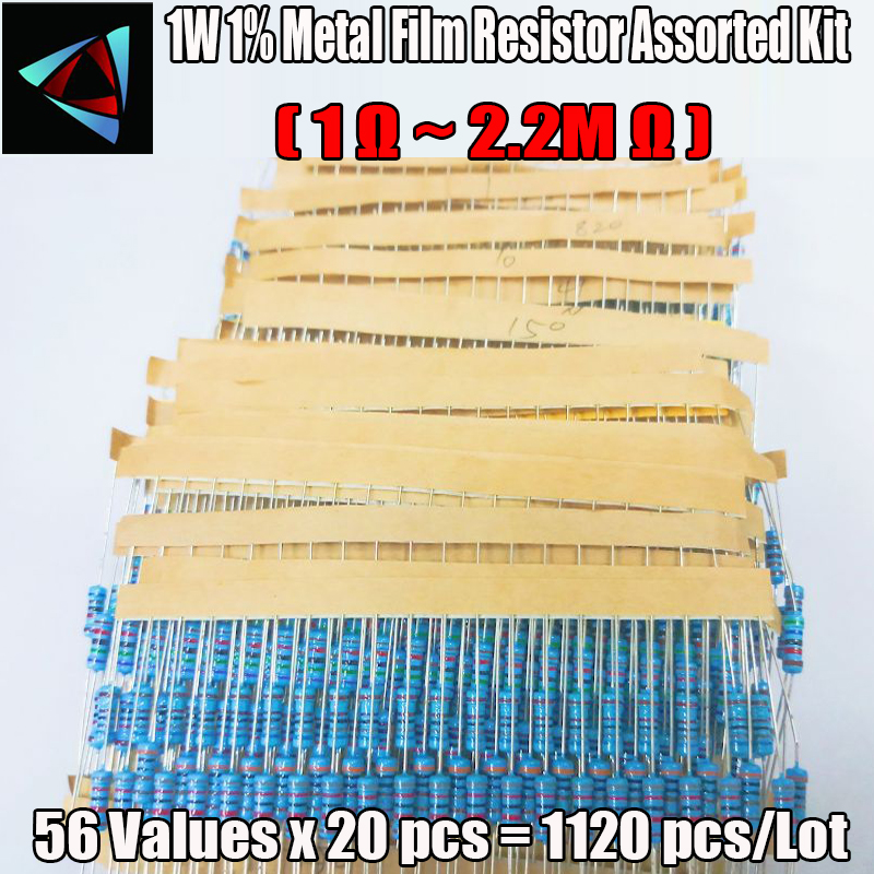 1120pcs Metal Film Resistor 1W 56Values 1W 1% Metal Film Resistance Assorted Kit Set (1 Ohm - 2.2M Ohm )