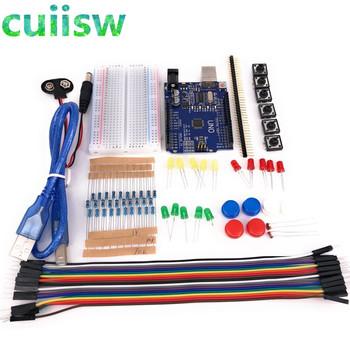 Zestaw startowy 13 w 1 zestaw nowy rozrusznik zestaw mini Breadboard LED kabel mostkujący przycisk dla arduino kompatybilny z UNO R3 tanie i dobre opinie Komputer Regulator napięcia cuiisw