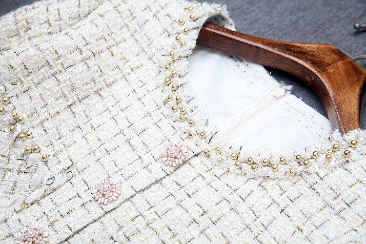Oficina Señoras Vestido Elegante Rebordear Invierno Nueva Tweed S Cuello Otoño Mujer Larga xl Manga Apricot Redondo 2018 Del rrqdY1w