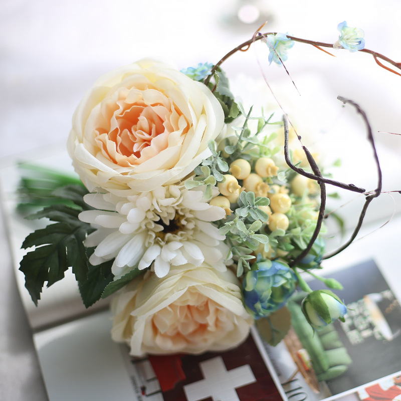 30 lots Colorful Rose Peony Artificial Silk Flowers Bouquet Home Party Fake Flower Wedding hotel Decoration Flower high quality