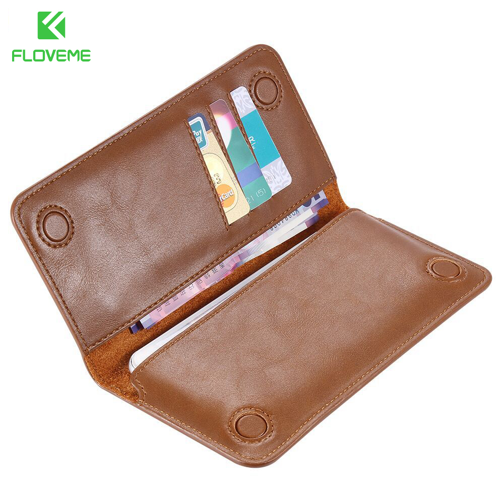 FLOVEME Universal Genuine Real Leather Wallet Case For iPhone 6s Plus 7 7 Plus for Samsung
