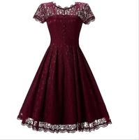 Solid Colors Summer Women Dress Pretty Vestidos Female Lace Hollow Out Dress Short Sleeve Long Party Dress Button sexy dress #V9