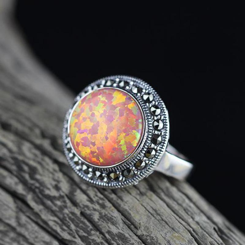 Fire Opal Rings For Women Real 925 Sterling Silver Jewelry Vintage Thai Silver Classic Round Shape Gemstone Lady Hand DecorationFire Opal Rings For Women Real 925 Sterling Silver Jewelry Vintage Thai Silver Classic Round Shape Gemstone Lady Hand Decoration