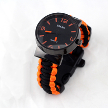 Emak Outdoor Camping Survival Watch Compass Whistle Paracord Weave Knife Rescue Rope SOS Equipment Tools for Christmas