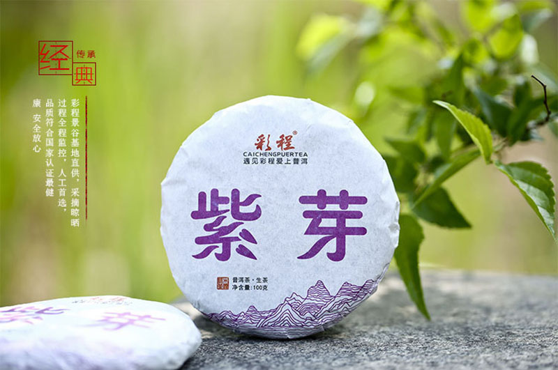 100 gr Lose Weight Wild Grow Tea Tree Material Purple Buds Puer Raw Tea Brick