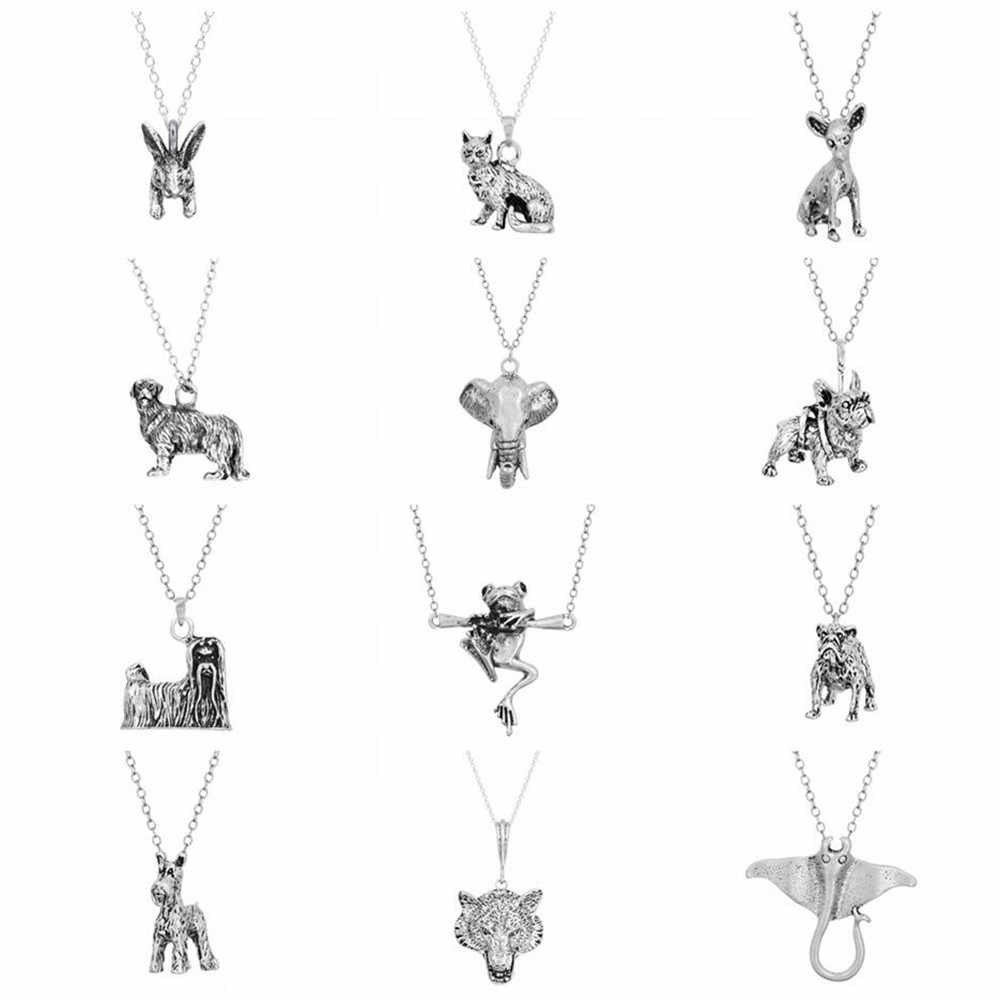 QIAMNI 3D Animal Retriever Schnauzer Dog Cat Pendant Necklace Pet Lovers Jewelry Birthday Gift Elephant Frog Necklace Men Women