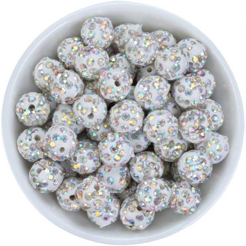Beads Free Shipping 50pcs 10mm White Ab Color Crystal Diy Clay Spacer Shamballa Beads Pave Rhinestone Disco Balls Bead Preventing Hairs From Graying And Helpful To Retain Complexion