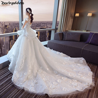 2018 Robe De Mariage Princess 3D Flowers Wedding Dresses Sexy Open Back Luxury Lace Ball Gown Wedding Dress Real Pictures
