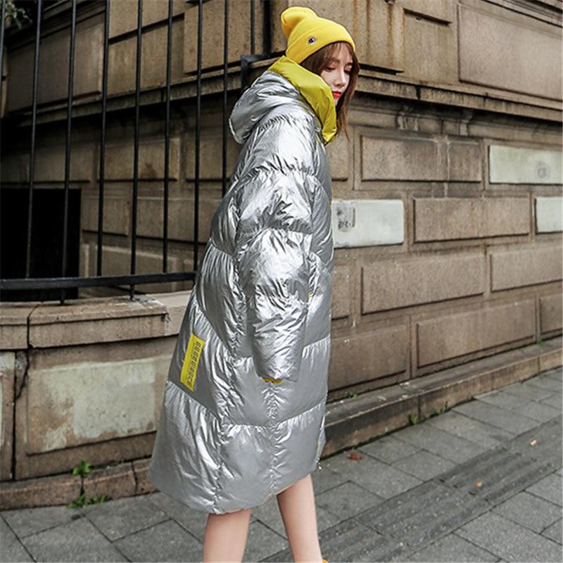 D'hiver Taille Long Le Veste Fleurs Silver À Femmes Femelle Argent Vêtements Capuchon Manteau Chaud Manches Nouvelle Coton Épais Grande Genou Sur Longues UwEw5qrOYx
