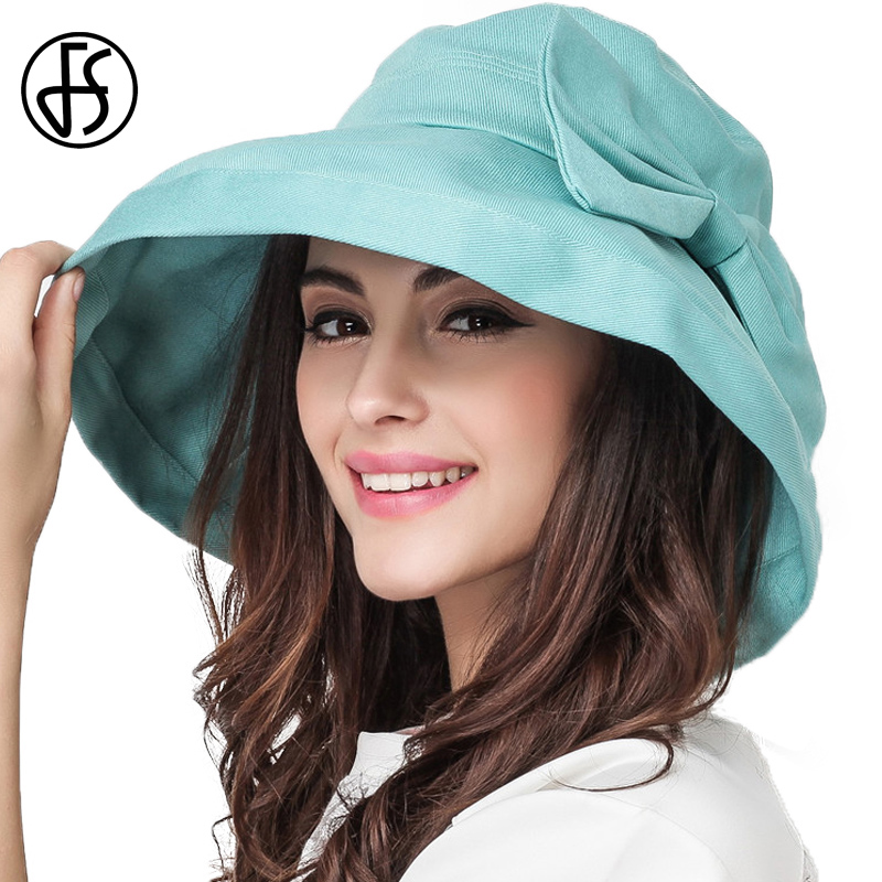 FS Large Brim Cotton Sun Hats For Women Summer Foldable Beach Holiday Hat With Bowknot Visor Cap Mint Blue Khaki Pink