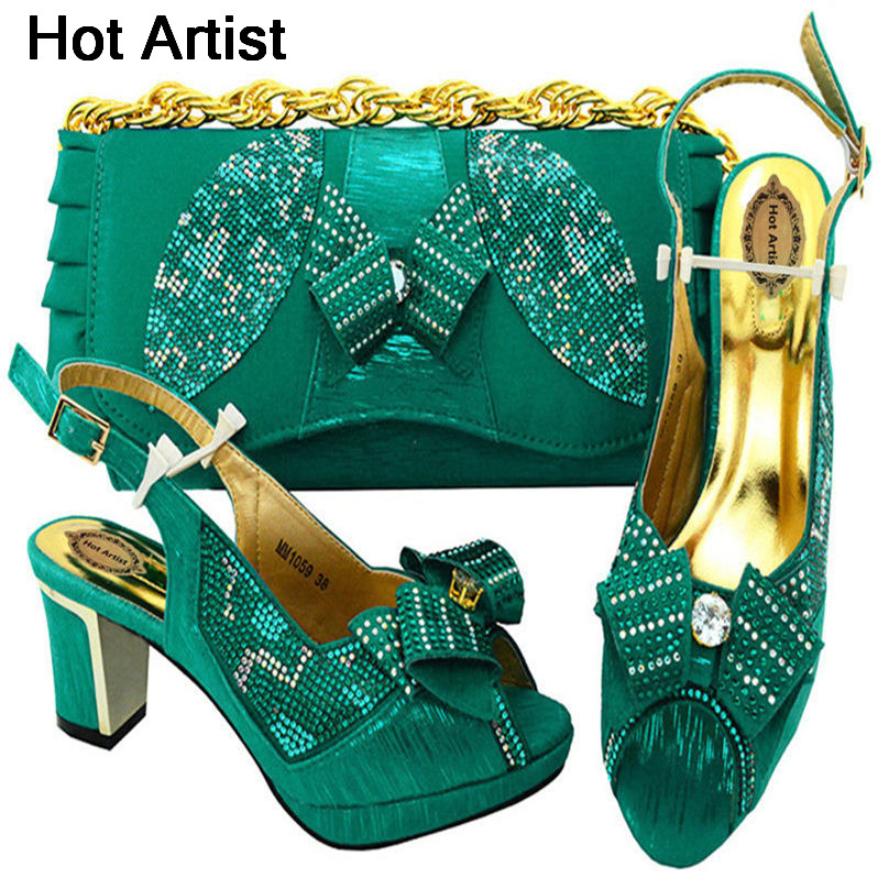 Hot Artist High Quality Italian Woman Teal Color Shoes And Bag Set New African High Heels Shoes And Bag Set For Party  MM1059 capputine new arrival fashion shoes and bag set high quality italian style woman high heels shoes and bags set for wedding party